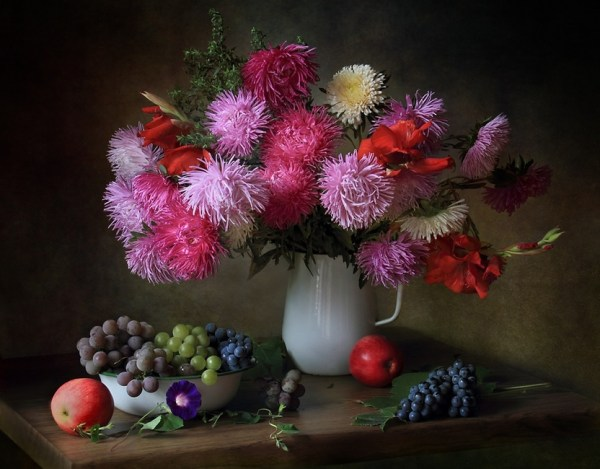 With asters and grapes ...