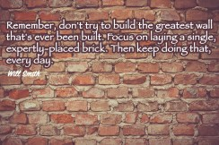 Remember, don't try to build the greatest wall that's ever been built. Focus on laying a single, expertly-placed brick. Then keep doing that, every day. Will Smith