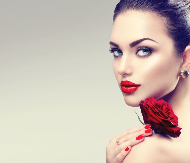 Portrait with Red Rose flower