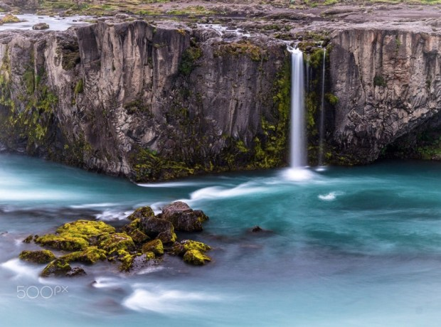 A small waterfall at Goðafoss in northern Iceland