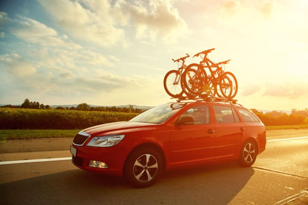 car transporting bicycles on the roof