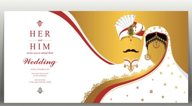Indian wedding card, gold and crystals