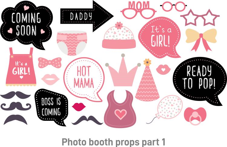 Baby shower photo booth props for Girl