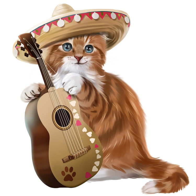 Ginger kitten playing the guitar watercolor painting