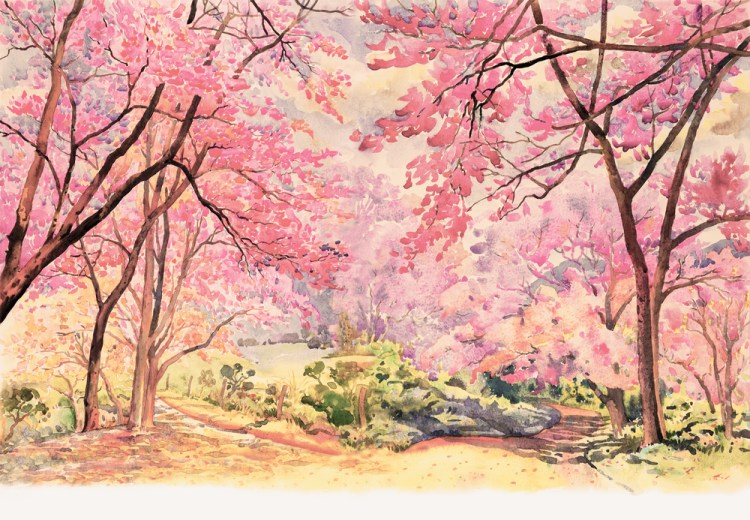 Painting watercolor landscape pink red flower of Wild himalayan