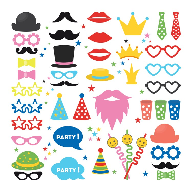 Party masks set. Hats and glasses