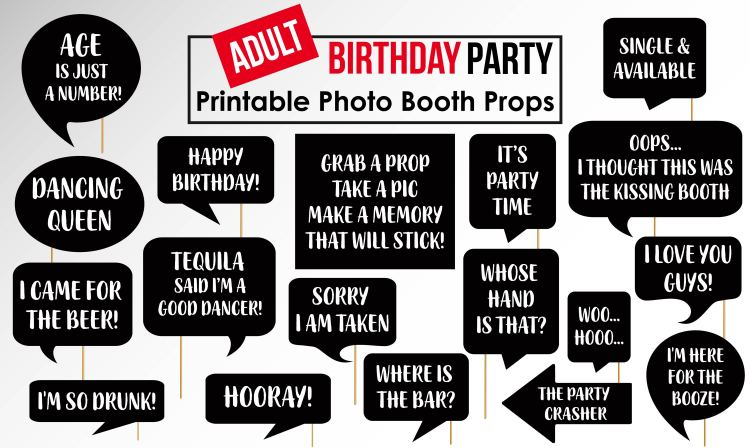 Funny Adult Birthday Party photobooth Props