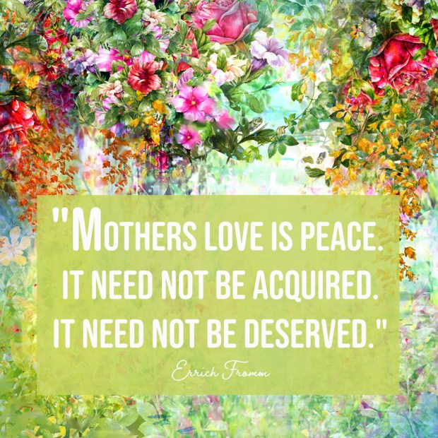 Mothers love is peace. It need not be acquired. It need not be deserved