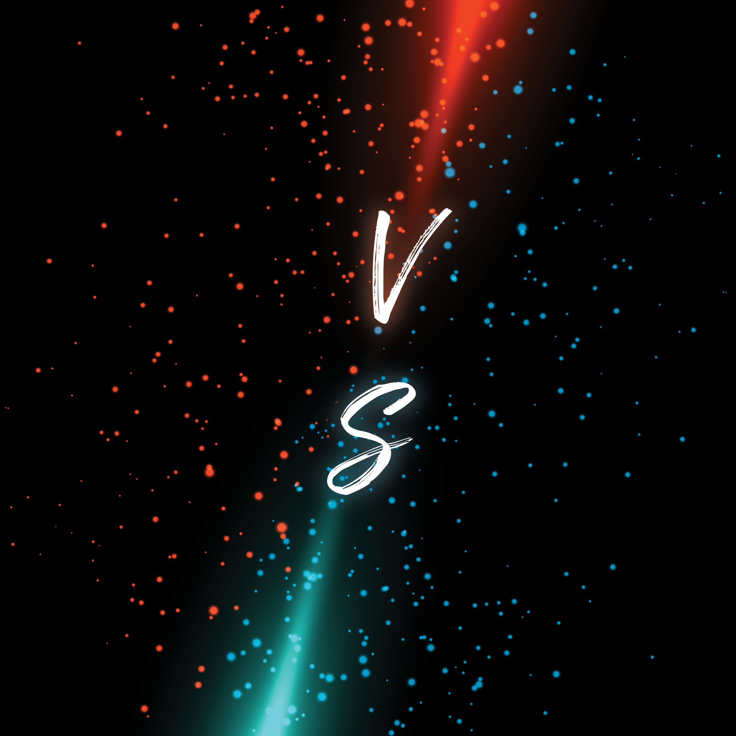Versus red and blue background with liquid drops 2448 x 2448