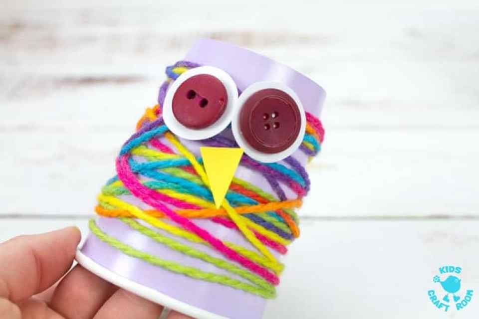 Paper Cup Yarn Wrapped Owl Craft