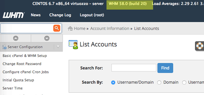 cpanel-WHM-versi-build