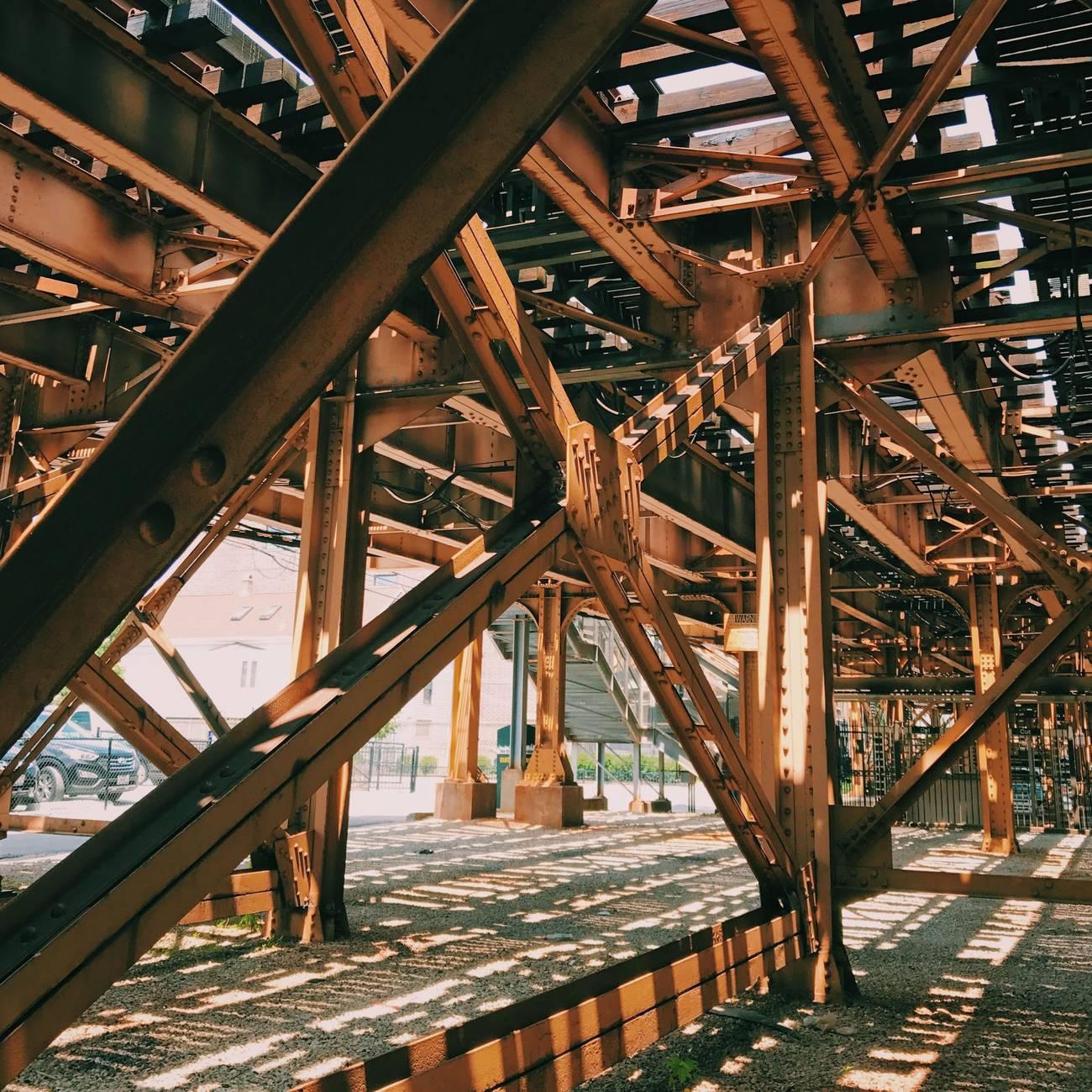 rusty brown metal bridge