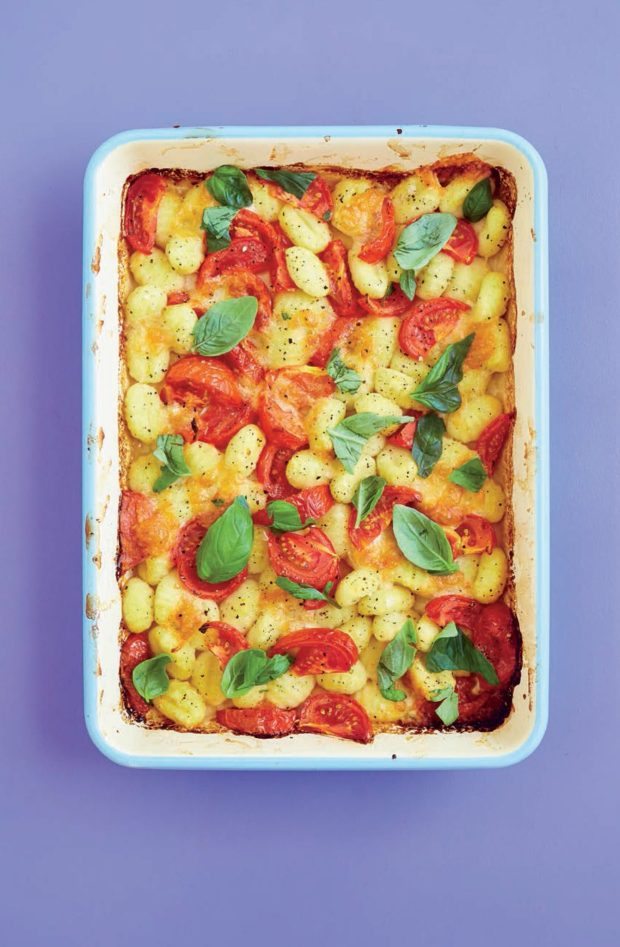 Baked Gnocchi with Tomatoes, Basil, Mozzarella and Pine Nuts