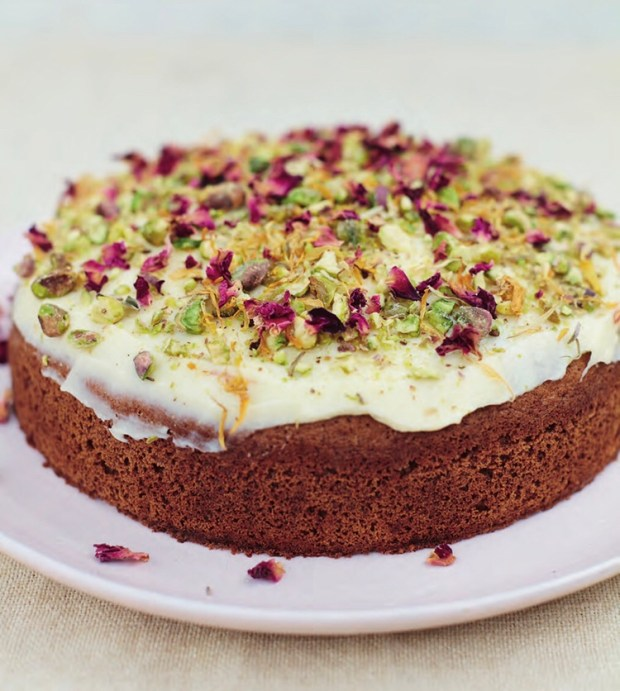 Pistachio and Almond Cake with Saffron Icing, Meera Sodha