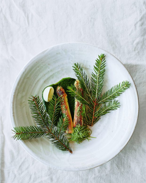 René Redzepi's Grilled Asparagus and Tender Spruce