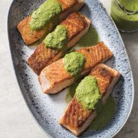 Pan-seared Salmon with Cilantro-mint Chutney