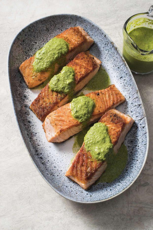 Pan-seared Salmon with Cilantro-mint Chutney