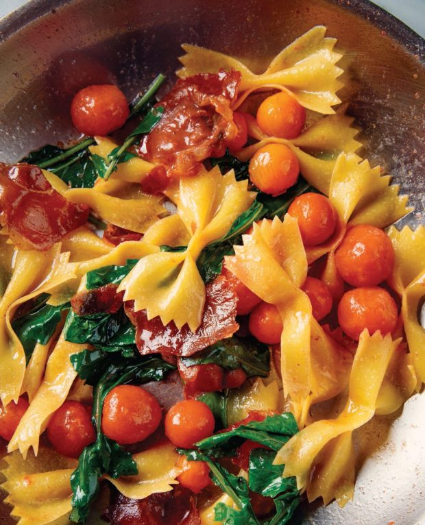 Strichetti with Prosciutto, Arugula and Tomatoes, American Sfoglino cookbook, Photography by Eric Wolfinger.