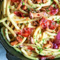 Chanterelle Mushroom and Prosciutto Pasta