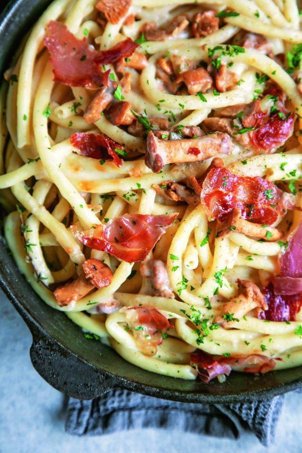 Pasta alla Boscaiola, 20-Minute ItalianbyAndrea Soranidis,Photography byAndrea Soranidis