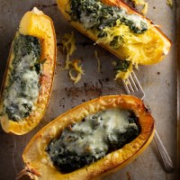 Pesto spinach stuffed spaghetti squash