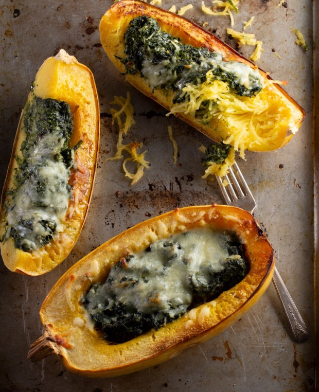 Pesto spinach stuffed spaghetti squash, Whole in One: Complete, Healthy Meals in a Single Pot, Sheet Pan, or Skillet by Ellie Krieger. Photos by Randi Baird.