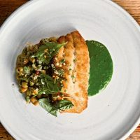 Cornmeal-Dusted Grouper with Herb Puree