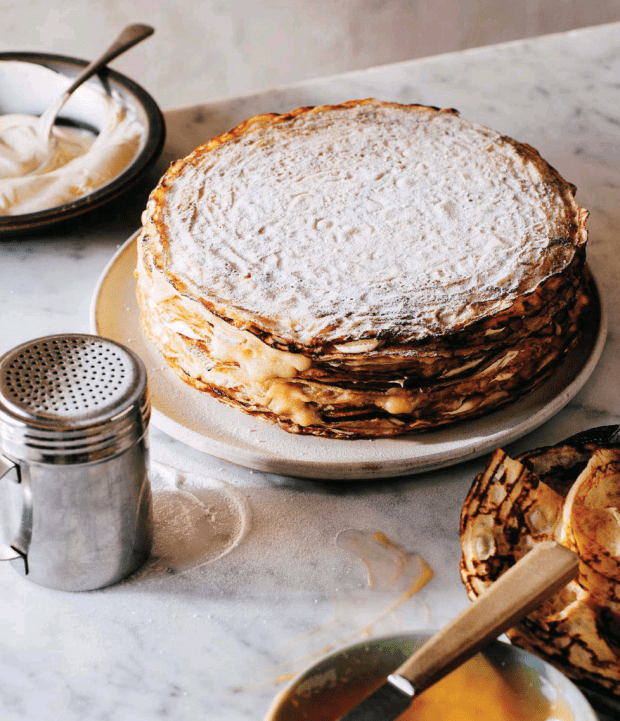 Lemon Curd Cream Crepe Cake