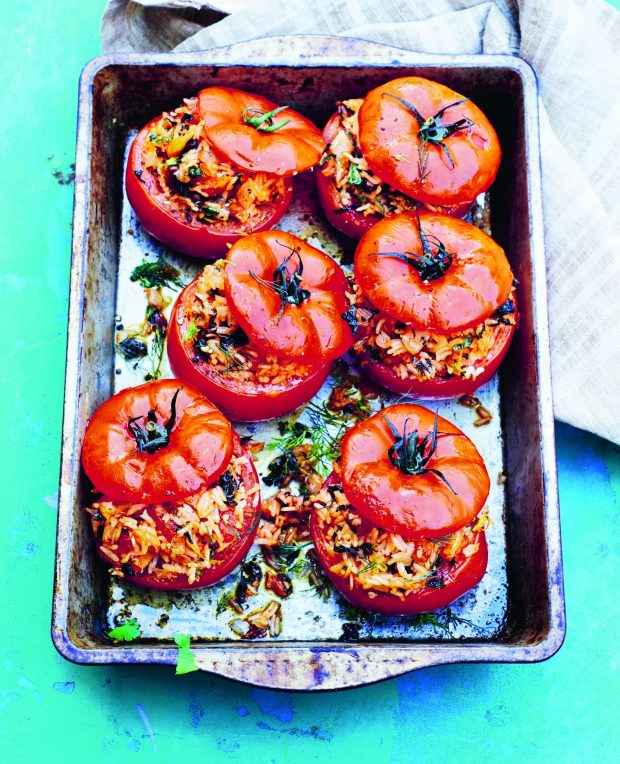 Greek Rice-Stuffed Tomatoes