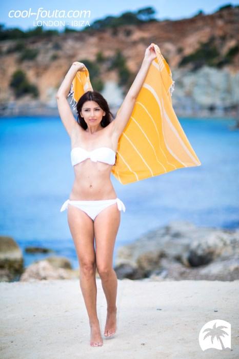 Saffron & White lines fouta by Cool-Fouta, Photo: Jose Antonio Hervas Mora - Ibiza Lights, Model: Andrew Varel-la, Make up & Hair: Coco Bliss