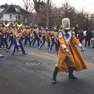 a photo of dudley high school's marching band during the martin luther king jr day parade