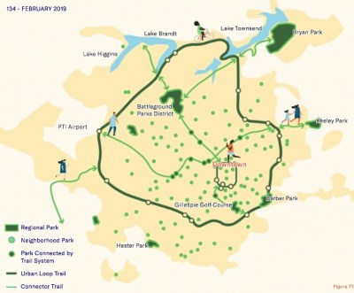 a drawing of greensboro's plan2play map of greenways in the city
