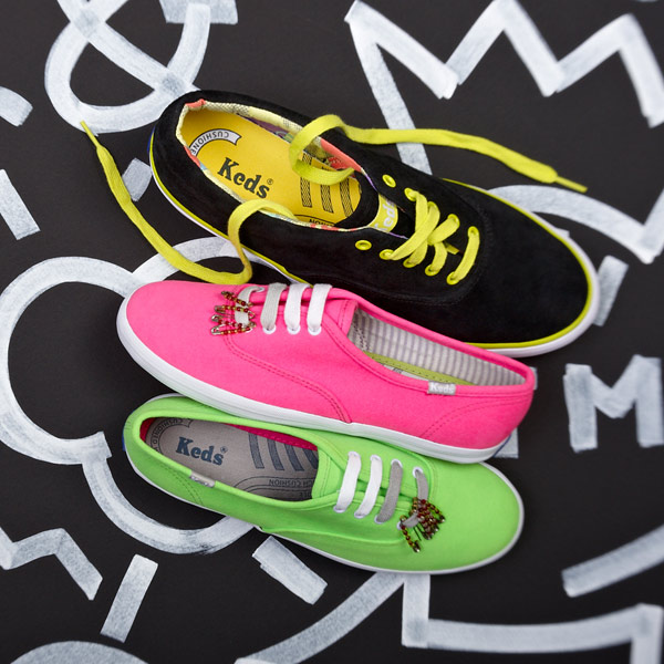 new concept 5dab1 ff6db This limited-edition collection of sneakers from the Keds Century Collection  colorfully pays tribute to rad  80s fashions. Geometric patterned interiors  add ...