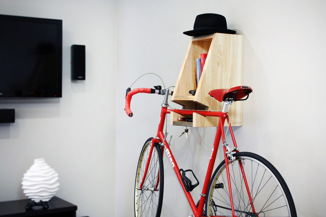 A Multifunctional, Blue-Stained Wooden Bike Rack - COOL HUNTING