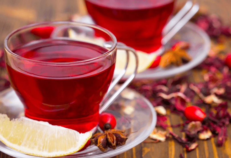 Chá seca barriga de hibisco