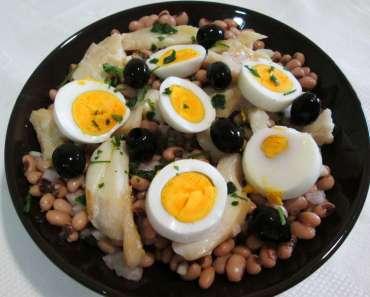 Receita de Salada de Feijão Frade com Bacalhau para almoço Rápido delicioso