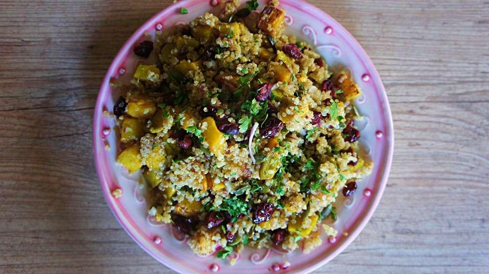 Receita de Salada de Quinoa, Moranga Assada e Cranberry
