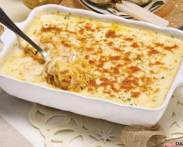 Receita de Bacalhau com natas e delícias do mar