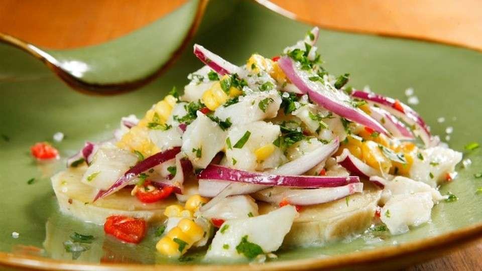 Receita de Ceviche de peixe e camarões