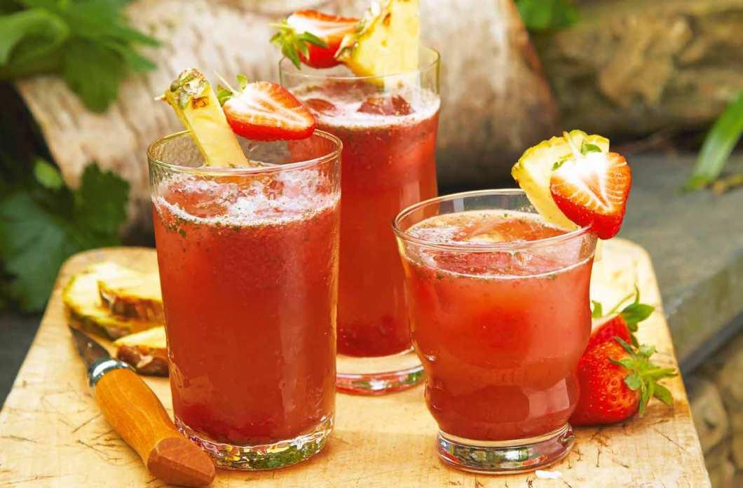 Receita de Suco de abacaxi com morango