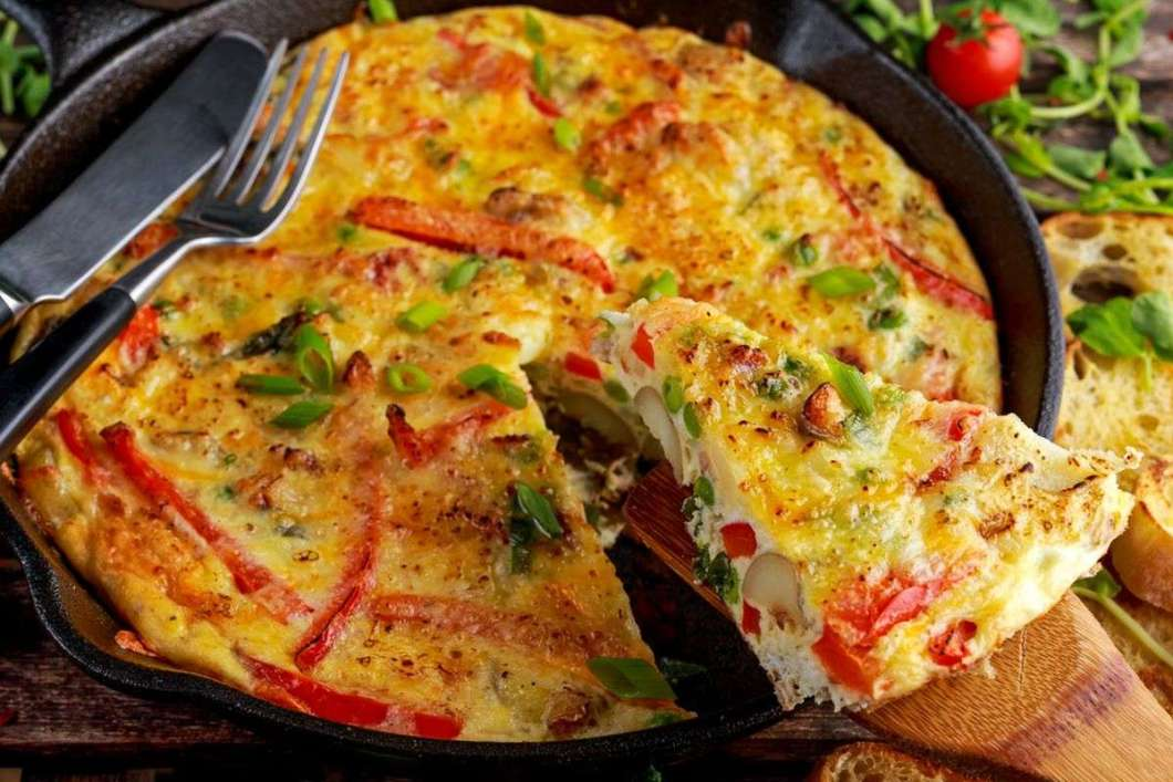 Receita de Omelete ao Forno com Presunto e Queijo Fácil