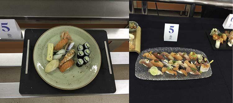 Izquierda: edomae/nigiri. Derecha: sushi creativo.