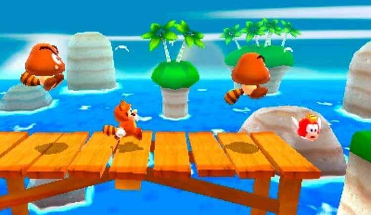 Mario con el traje de mapache en Super Mario 3D Land (Nintendo 3DS, 2011).