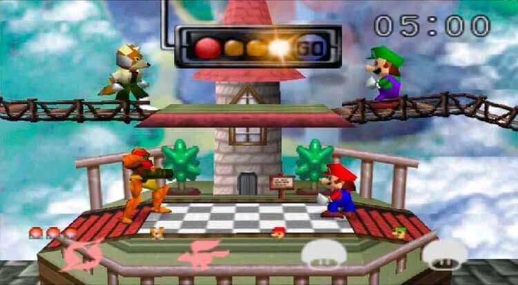 (De izquierda a derecha, y de arriba a abajo) Fox, Luigi, Samus y Mario en Super Smash Bros. (Nintendo 64, 1999).