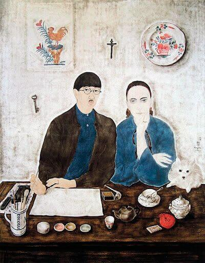Léonard Foujita - Interior, My Wife and Myself (1923)