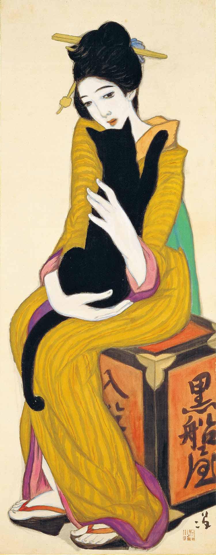 «Kurofuneya» (黒船屋) es una obra destacada. Según dicen el artista imitó la composición de «Mujer con gato» de Kees van Dongen.