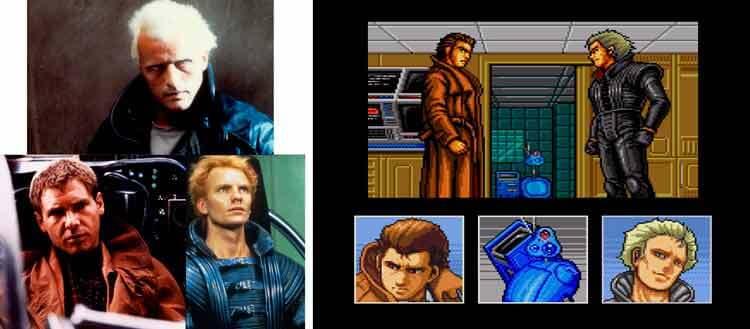 Izquierda: Arriba, Rutger Hauer como Roy Batty en Blade Runner. Abajo, izquierda: Harrison Ford como Deckard en Blade Runner. Abajo: derecha: Sting como Feyd Rautha en Dune (1984). Derecha: Captura de pantalla de Snatcher. Podemos ver a Gillian Seed (izquierda) y a Random Hajile (derecha). Abajo a la derecha está el Metal Gear MK II.