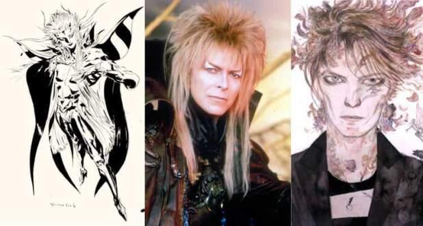 A la izquierda, el Emperador Mateus Palamecia, de Final Fantasy II (1988); en el centro tenemos a David Bowie como Jareth en la película Dentro del Laberinto; y a la derecha, el personaje de Duke, uno de los personajes en quien Bowie se convertía durante sus actuaciones. Neil Gailman realizó una historia sobre este alter ego de Bowie, y Yoshitaka Amano la ilustró (cuenta con una continuación de 2015).