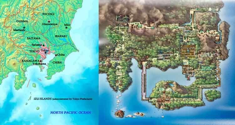 La región real de Kantō, en Japón, y a su derecha, el Kantō de Pokémon Rojo y Azul (Verde).