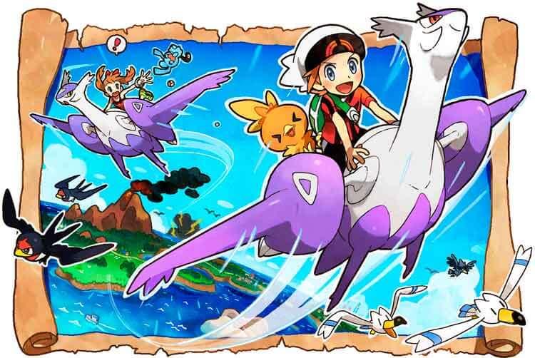 Arte oficial de Pokémon Rubí Omega y Alfa Zafiro.
